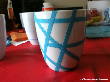 tape painted coffee mugs 1