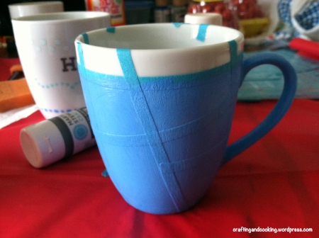 tape painted coffee mugs 2