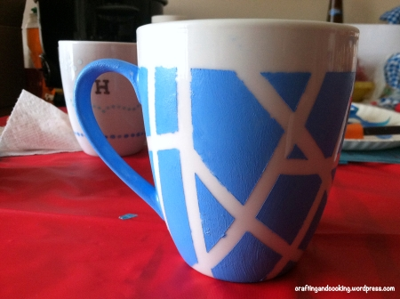 tape painted coffee mugs 3