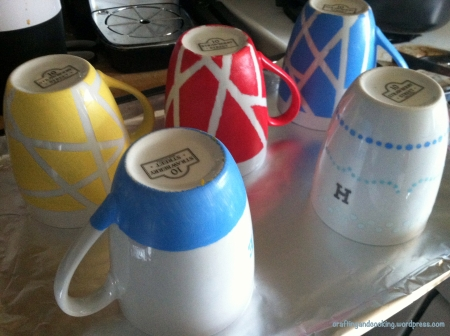 tape painted coffee mugs 4