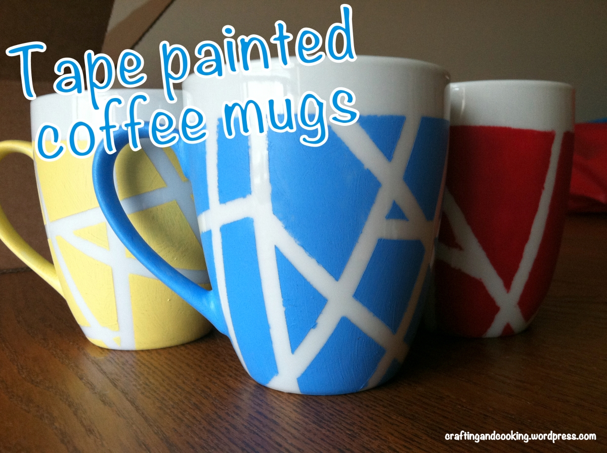 Tape painted coffee mugs
