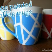 Tape painted coffee mugs
