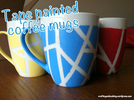 tape painted coffee mugs 5