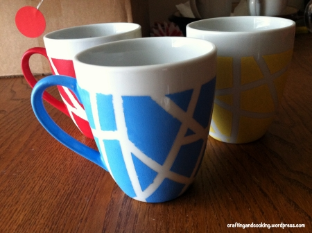 tape painted coffee mugs 6
