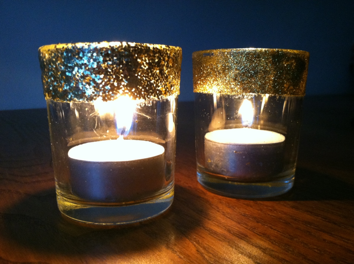 Glitter votive candle holders crafting and cooking for How to make glass candle holders
