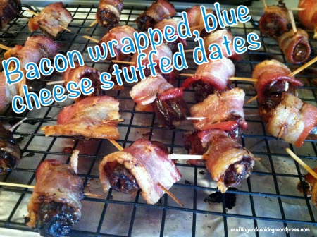 bacon wrapped, blue cheese stuffed dates 6